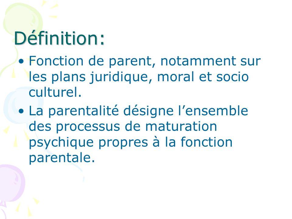 Définition:Fonction de parent, notamment sur les plans juridique, moral et socio culturel.