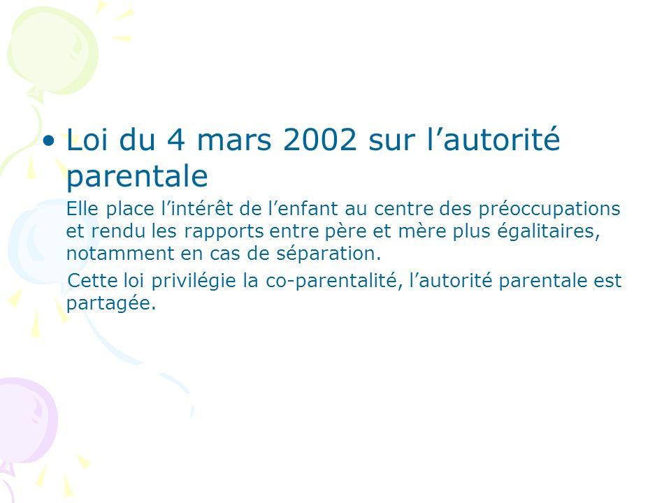 Loi du 4 mars 2002 sur l'autorité parentale