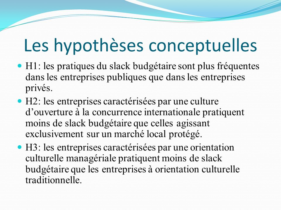 Les hypothèses conceptuelles
