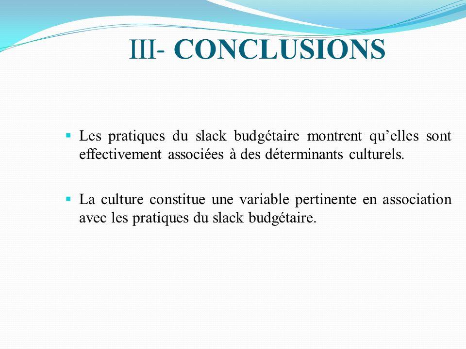 III- CONCLUSIONS Les pratiques du slack budgétaire montrent qu'elles sont effectivement associées à des déterminants culturels.
