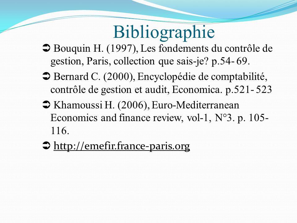 Bibliographie  Bouquin H. (1997), Les fondements du contrôle de gestion, Paris, collection que sais-je p.54- 69.