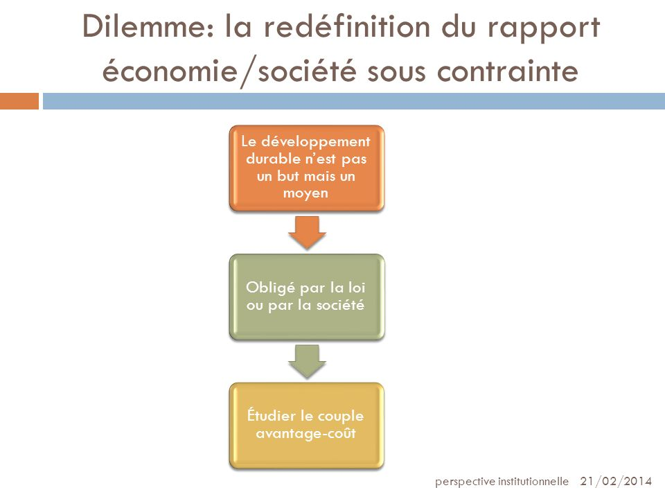 Dilemme: la redéfinition du rapport économie/société sous contrainte
