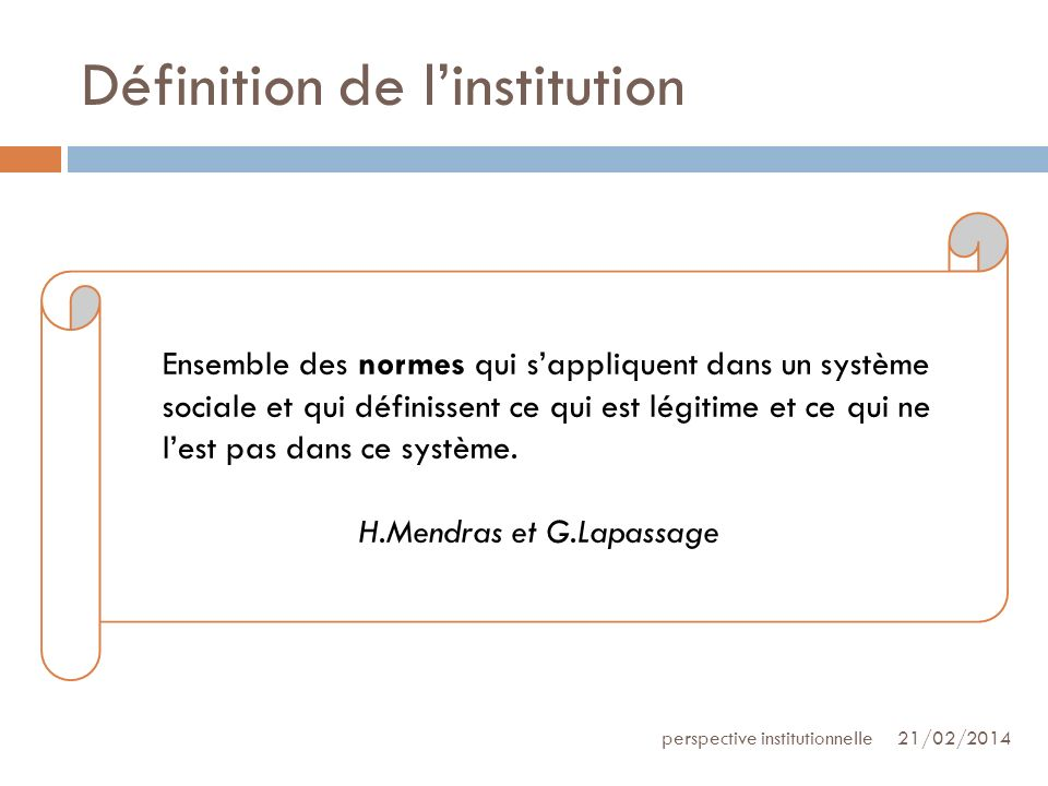 Définition de l'institution