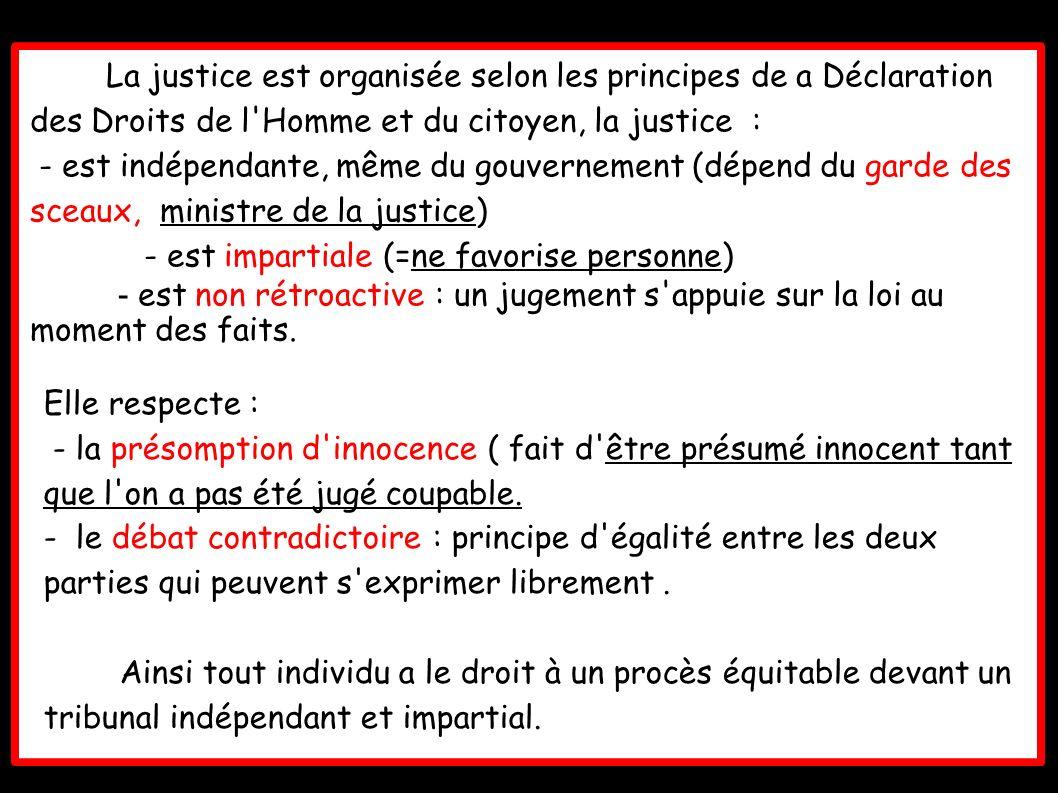 La justice est organisée selon les principes de a Déclaration des Droits de l Homme et du citoyen, la justice :