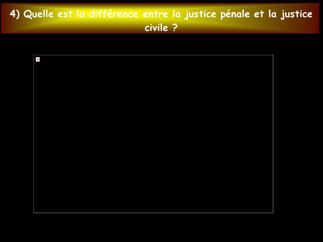 4) Quelle est la différence entre la justice pénale et la justice civile
