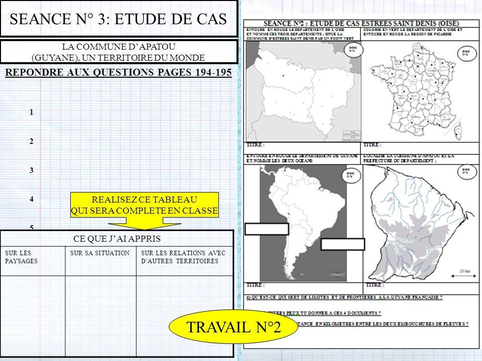 SEANCE N° 3: ETUDE DE CAS TRAVAIL N°2