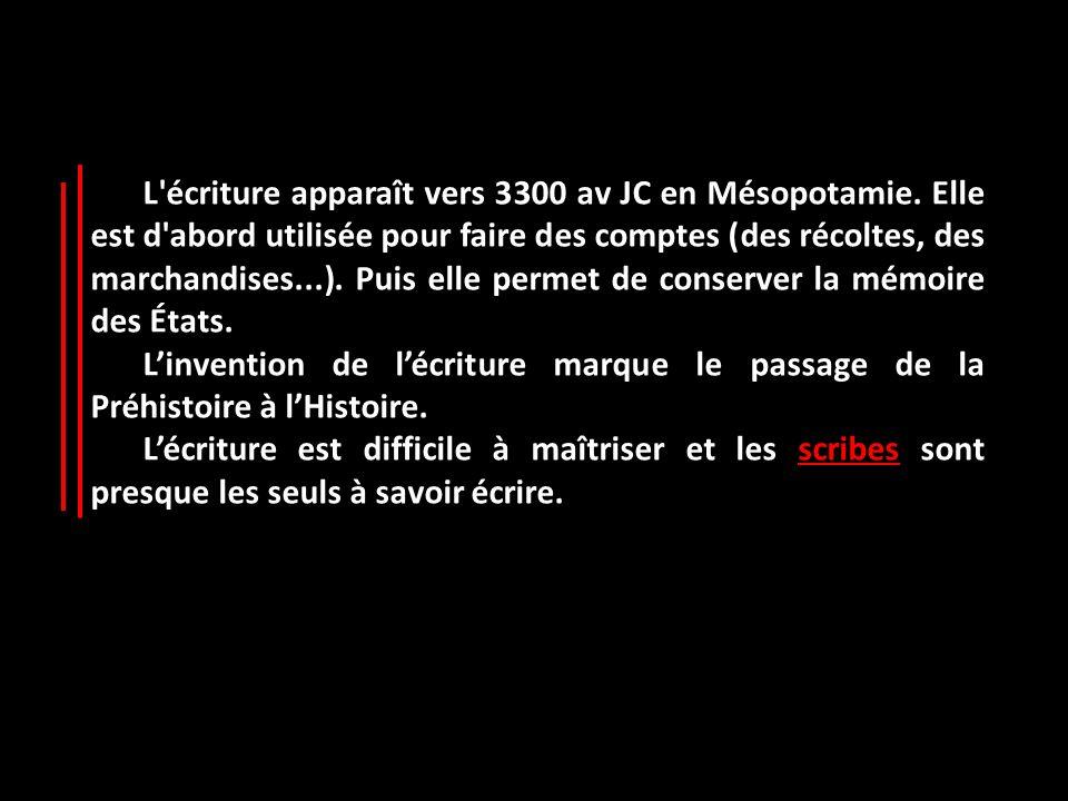 L écriture apparaît vers 3300 av JC en Mésopotamie