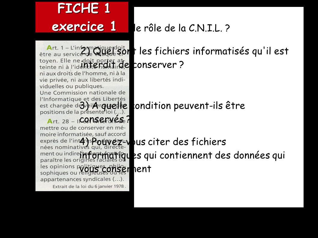 FICHE 1 exercice 1 1) Quel est le rôle de la C.N.I.L.