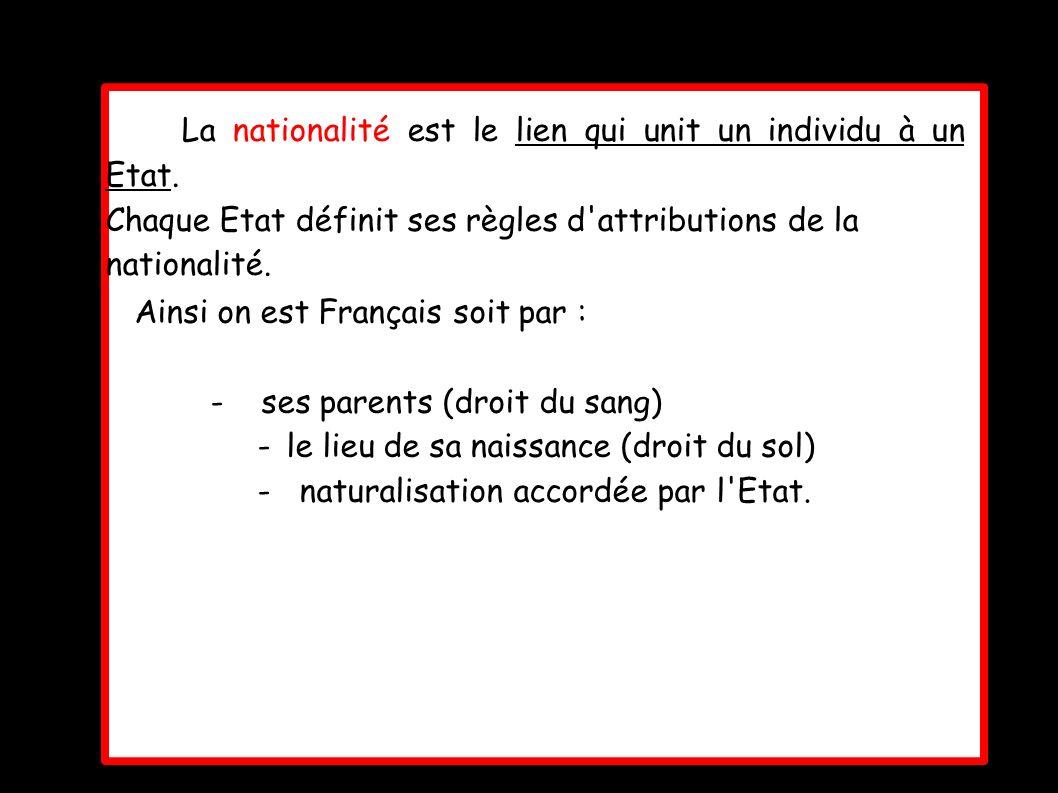 La nationalité est le lien qui unit un individu à un Etat.