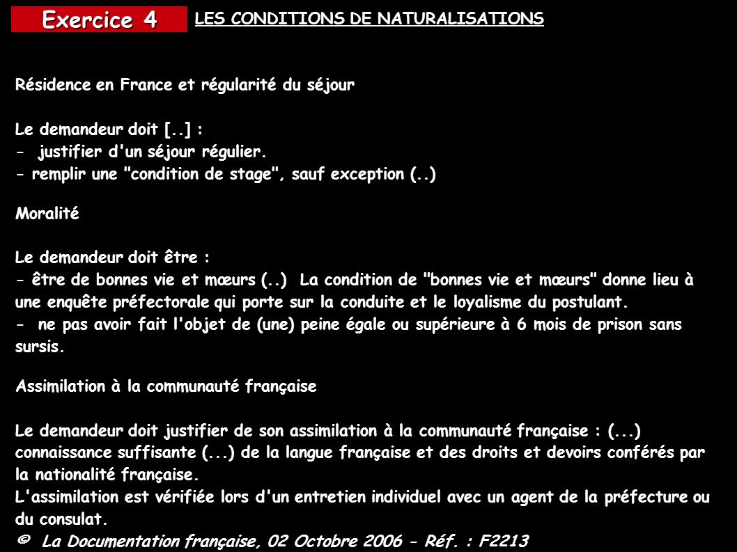 LES CONDITIONS DE NATURALISATIONS
