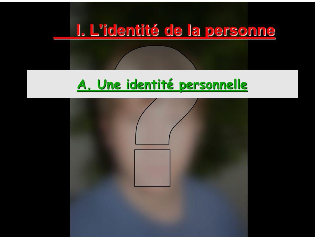 I. L identité de la personne A. Une identité personnelle