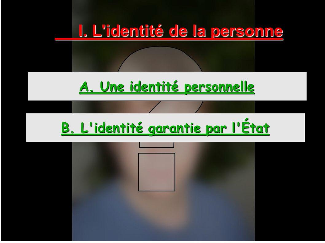 I. L identité de la personne