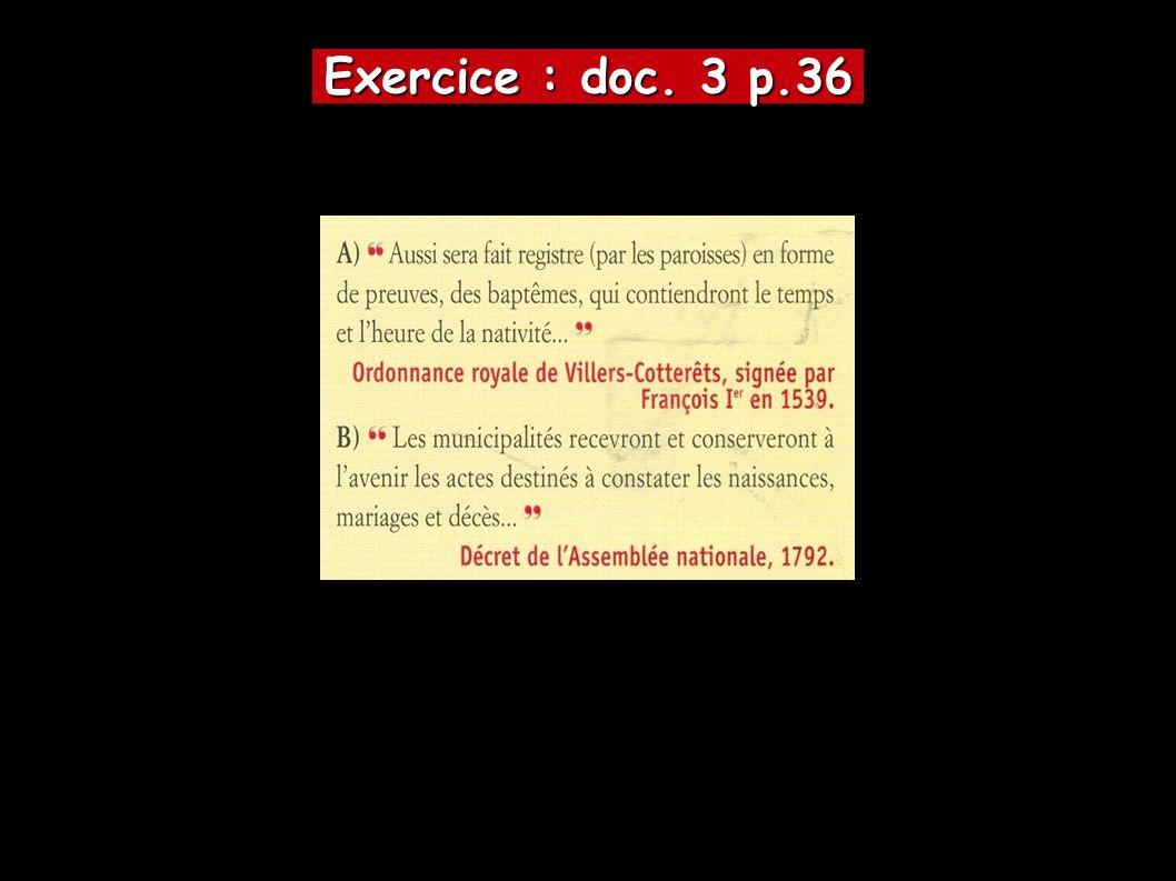 Exercice : doc. 3 p.36