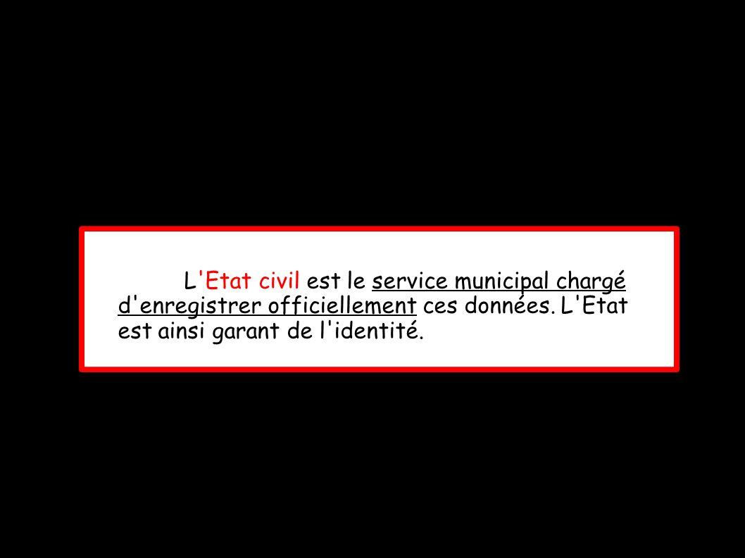 L Etat civil est le service municipal chargé d enregistrer officiellement ces données.
