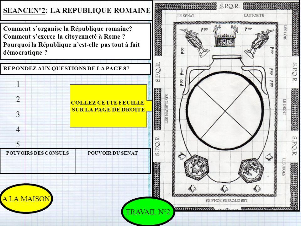 1 2 3 4 5 SEANCEN°2: LA REPUBLIQUE ROMAINE EN CLASSE A LA MAISON