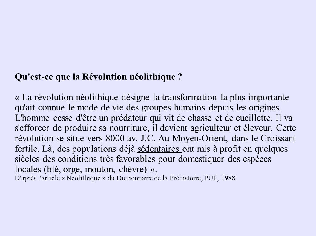 Qu est-ce que la Révolution néolithique