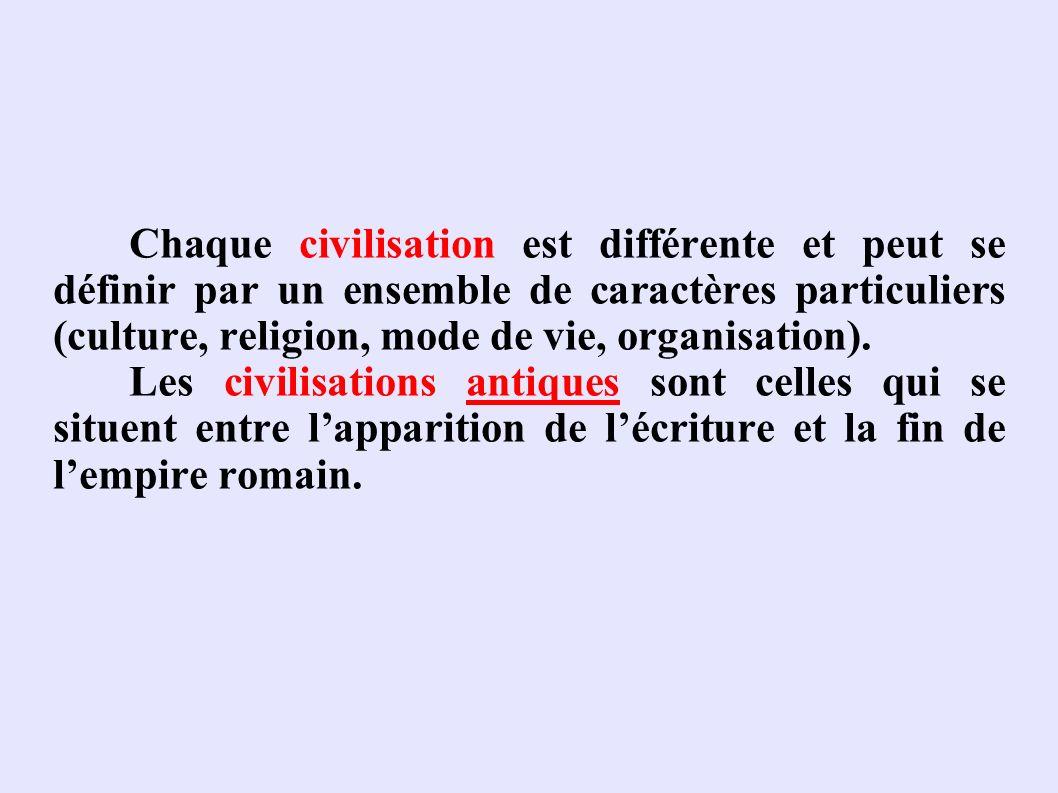 Chaque civilisation est différente et peut se définir par un ensemble de caractères particuliers (culture, religion, mode de vie, organisation).