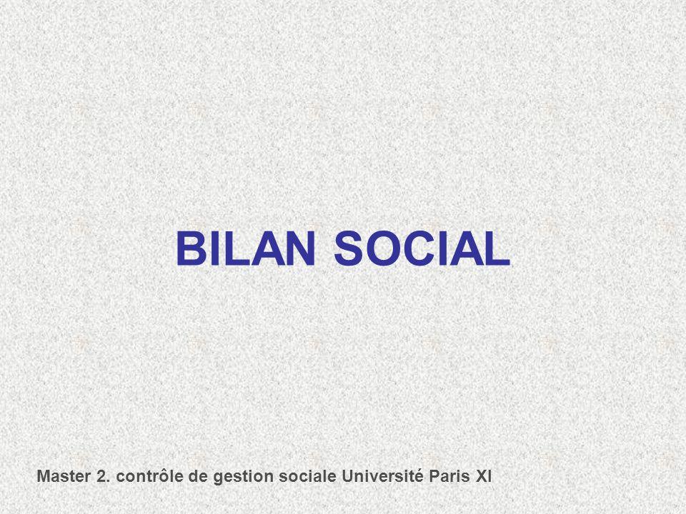 BILAN SOCIAL Master 2. contrôle de gestion sociale Université Paris XI