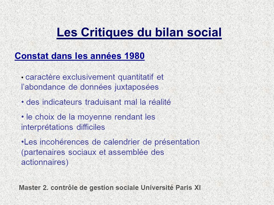 Les Critiques du bilan social