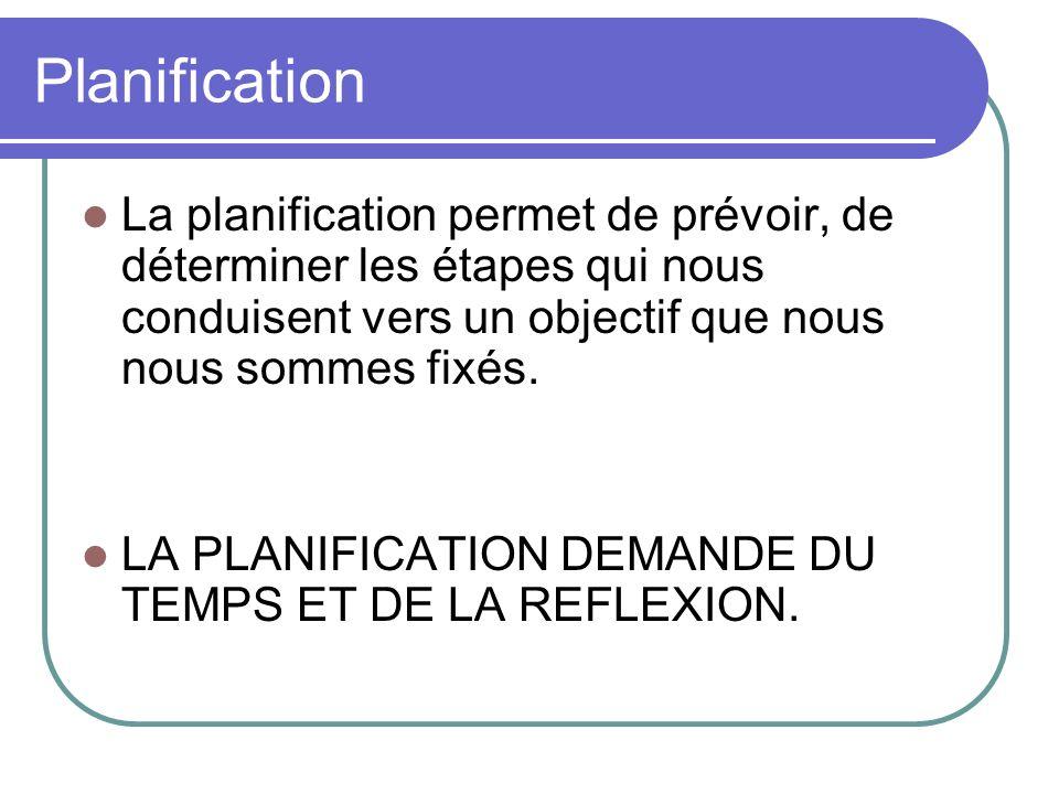 Planification La planification permet de prévoir, de déterminer les étapes qui nous conduisent vers un objectif que nous nous sommes fixés.