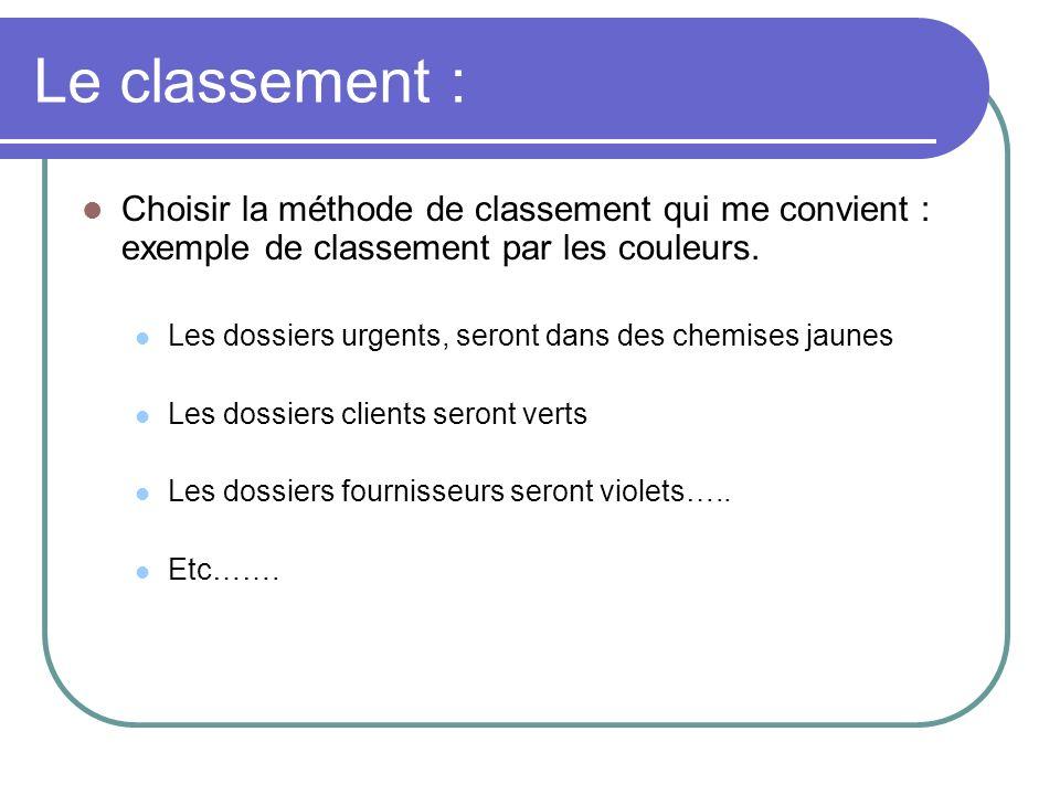 Le classement : Choisir la méthode de classement qui me convient : exemple de classement par les couleurs.