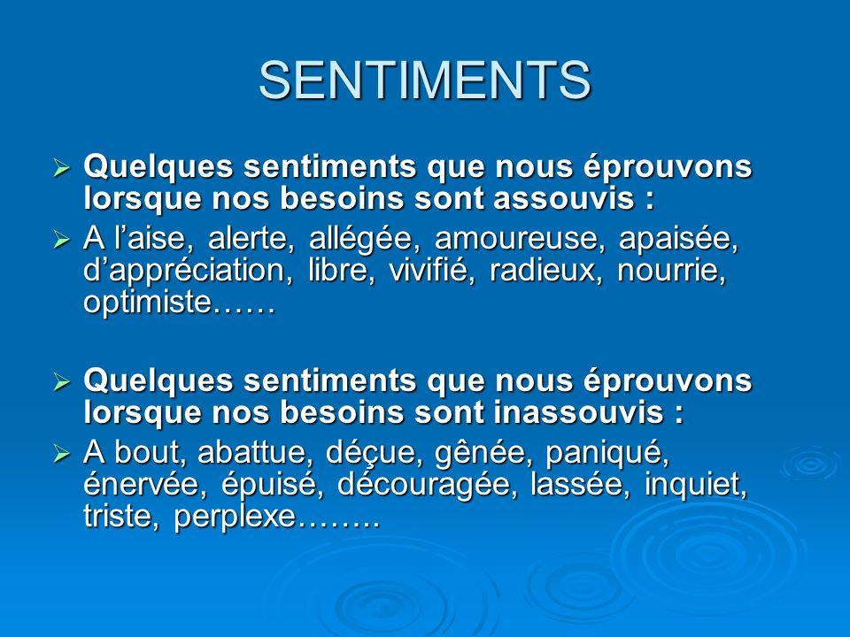 SENTIMENTS Quelques sentiments que nous éprouvons lorsque nos besoins sont assouvis :