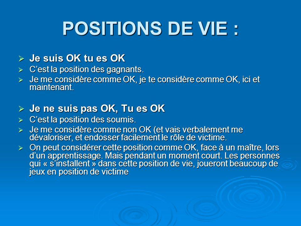 POSITIONS DE VIE : Je suis OK tu es OK Je ne suis pas OK, Tu es OK