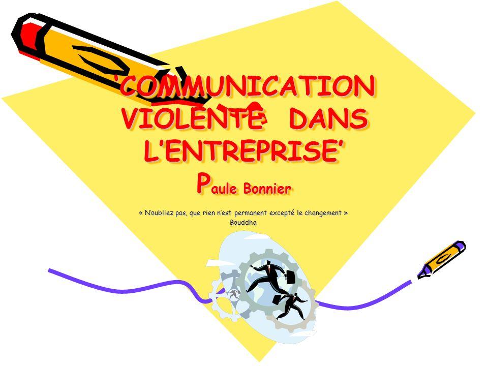 'COMMUNICATION VIOLENTE DANS L'ENTREPRISE' Paule Bonnier