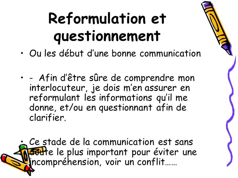 Reformulation et questionnement