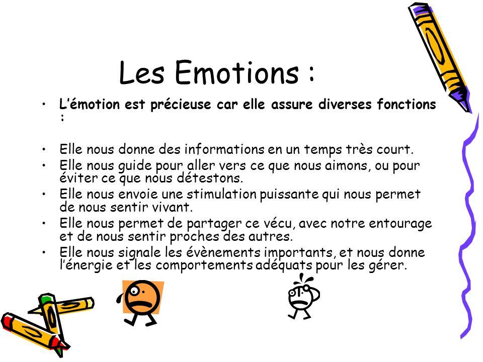 Les Emotions : L'émotion est précieuse car elle assure diverses fonctions : Elle nous donne des informations en un temps très court.