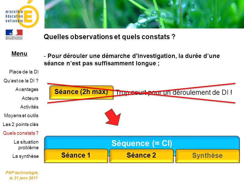 Séquence (= CI) Quelles observations et quels constats