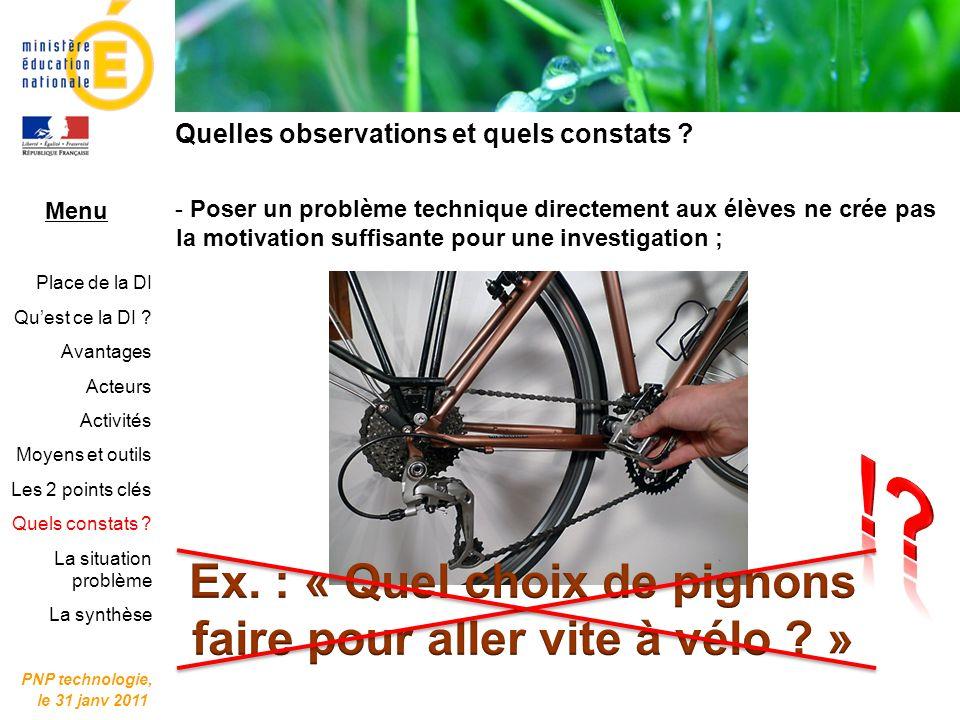 Ex. : « Quel choix de pignons faire pour aller vite à vélo »