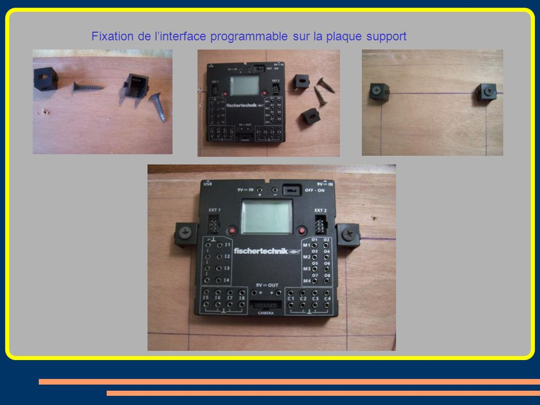Fixation de l'interface programmable sur la plaque support