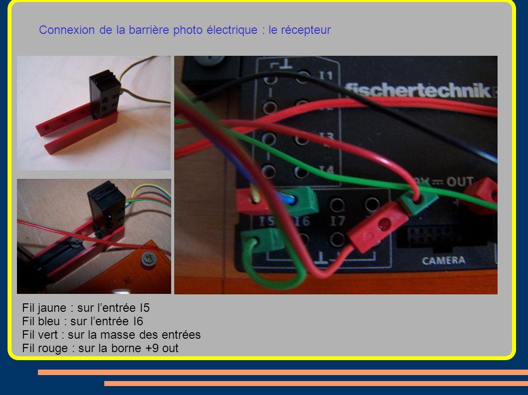 Connexion de la barrière photo électrique : le récepteur