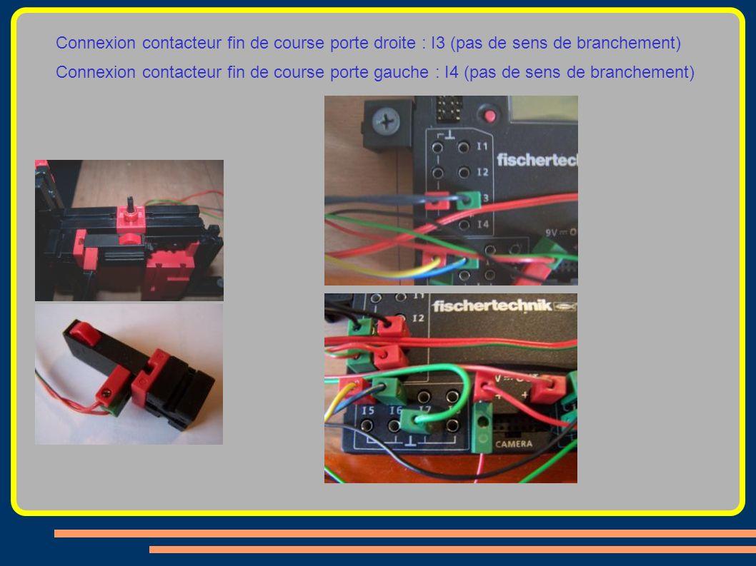 Connexion contacteur fin de course porte droite : I3 (pas de sens de branchement)