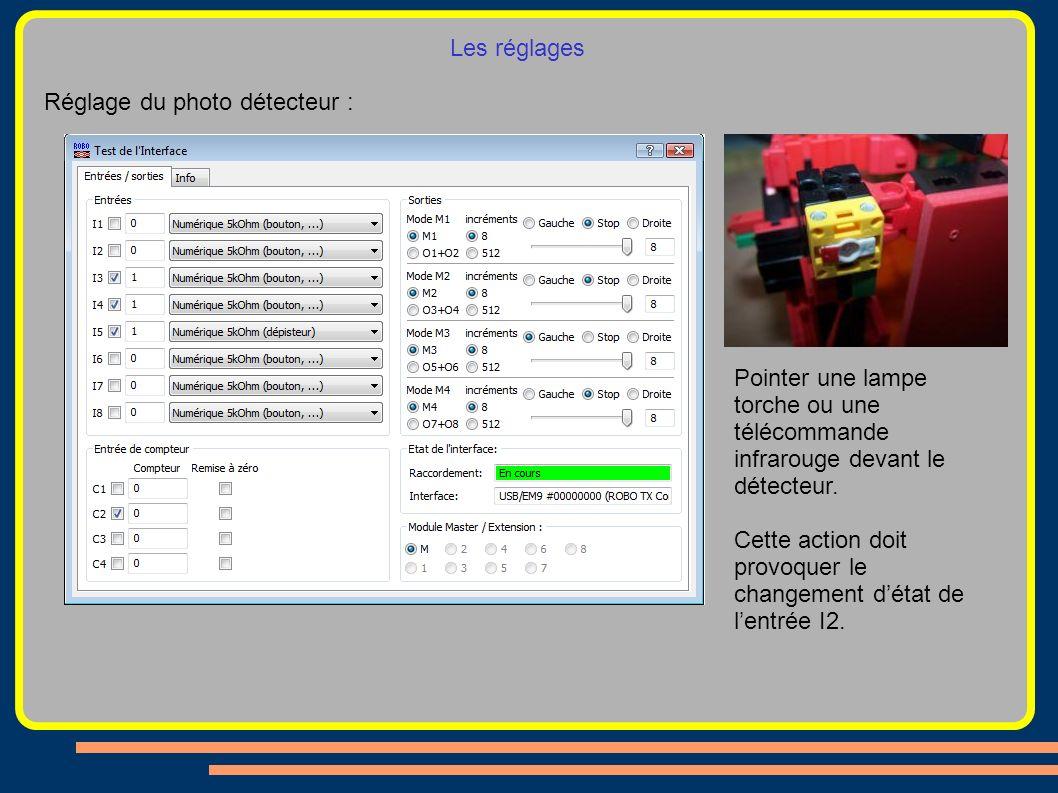 Les réglages Réglage du photo détecteur : Pointer une lampe torche ou une télécommande infrarouge devant le détecteur.
