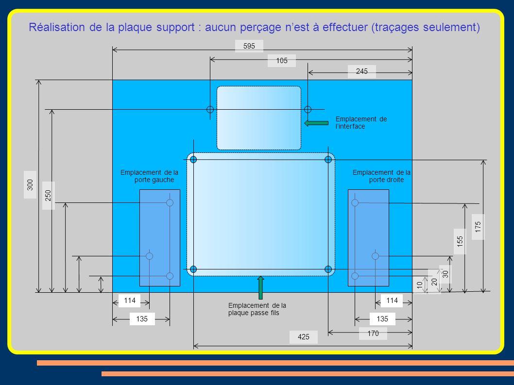 Réalisation de la plaque support : aucun perçage n'est à effectuer (traçages seulement)