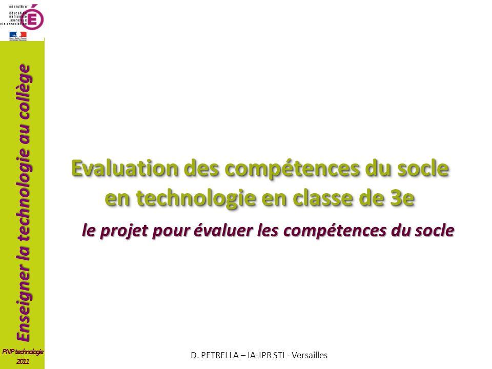 Evaluation des compétences du socle en technologie en classe de 3e