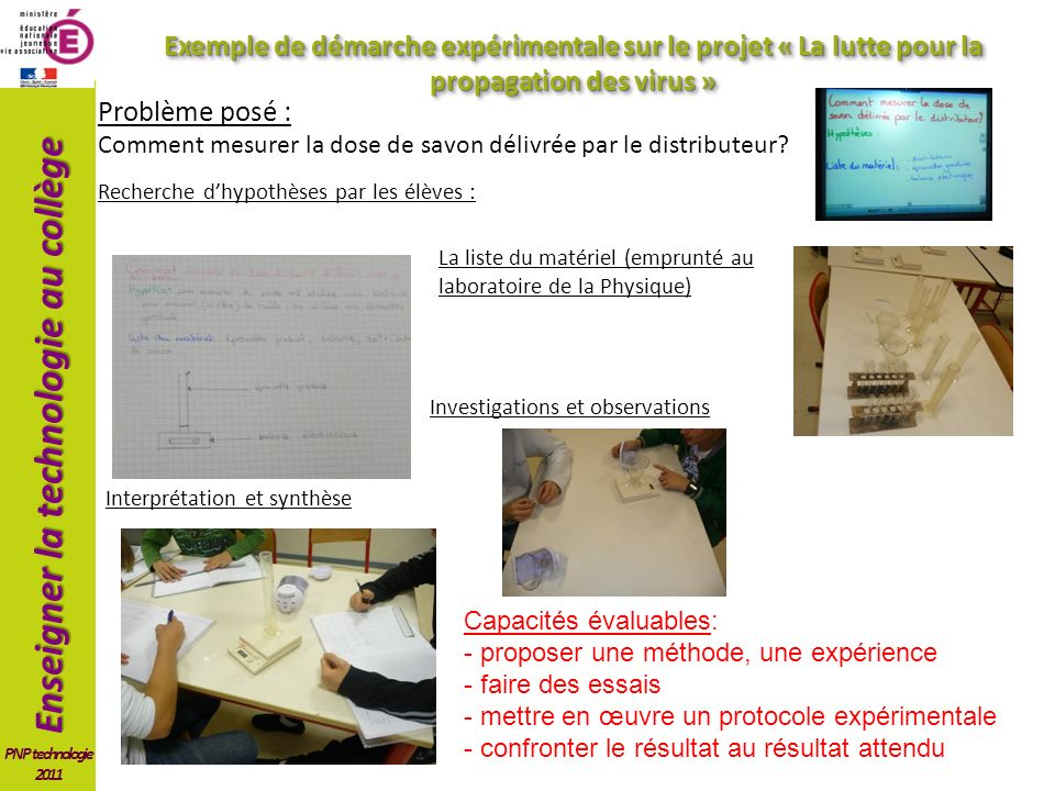 Exemple de démarche expérimentale sur le projet « La lutte pour la propagation des virus »