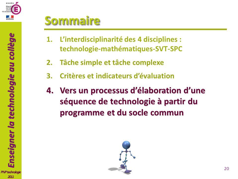 Sommaire L'interdisciplinarité des 4 disciplines : technologie-mathématiques-SVT-SPC. Tâche simple et tâche complexe.