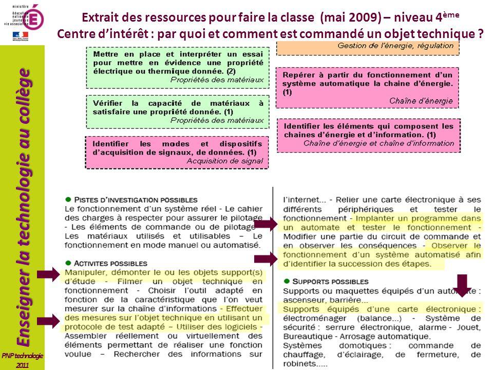 Extrait des ressources pour faire la classe (mai 2009) – niveau 4ème