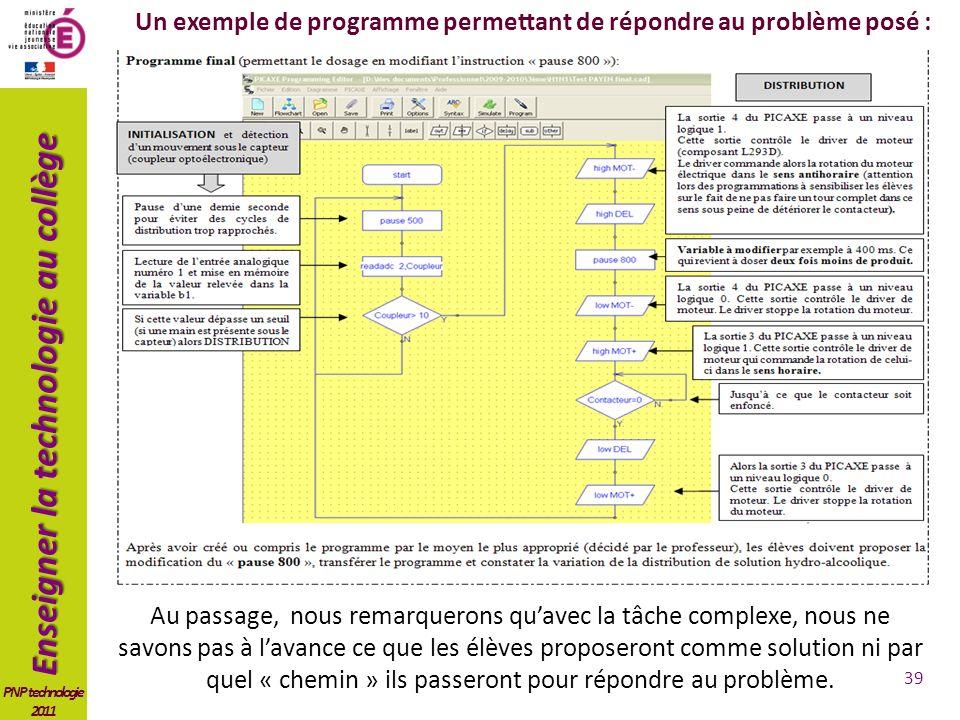 Un exemple de programme permettant de répondre au problème posé :