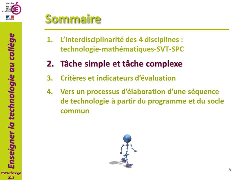 Sommaire Tâche simple et tâche complexe