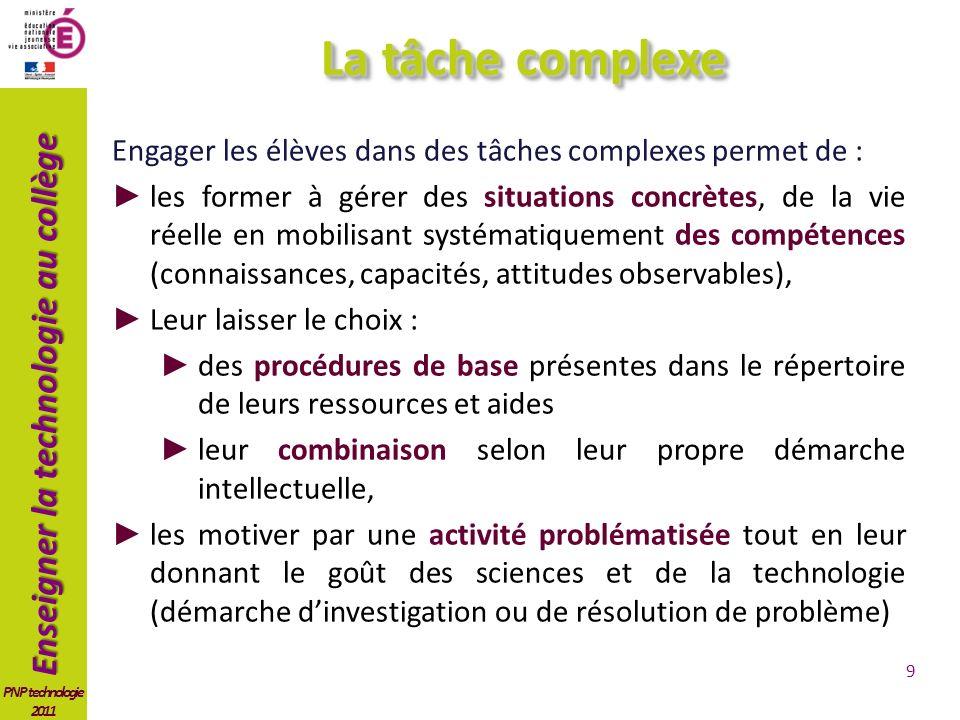 La tâche complexe Engager les élèves dans des tâches complexes permet de :