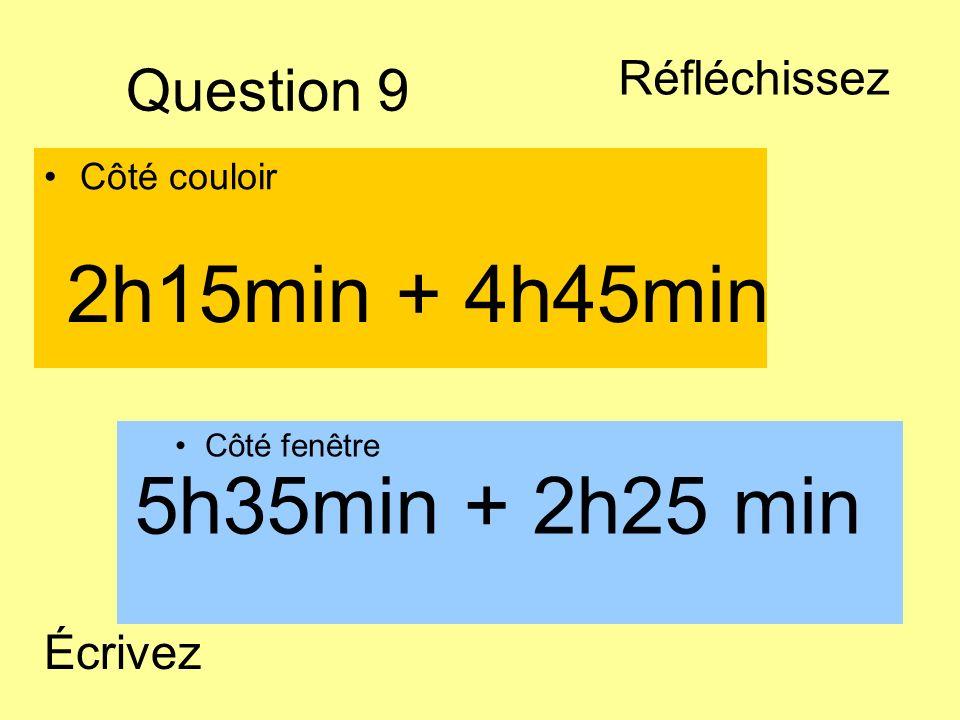 2h15min + 4h45min 5h35min + 2h25 min Question 9 Réfléchissez Écrivez