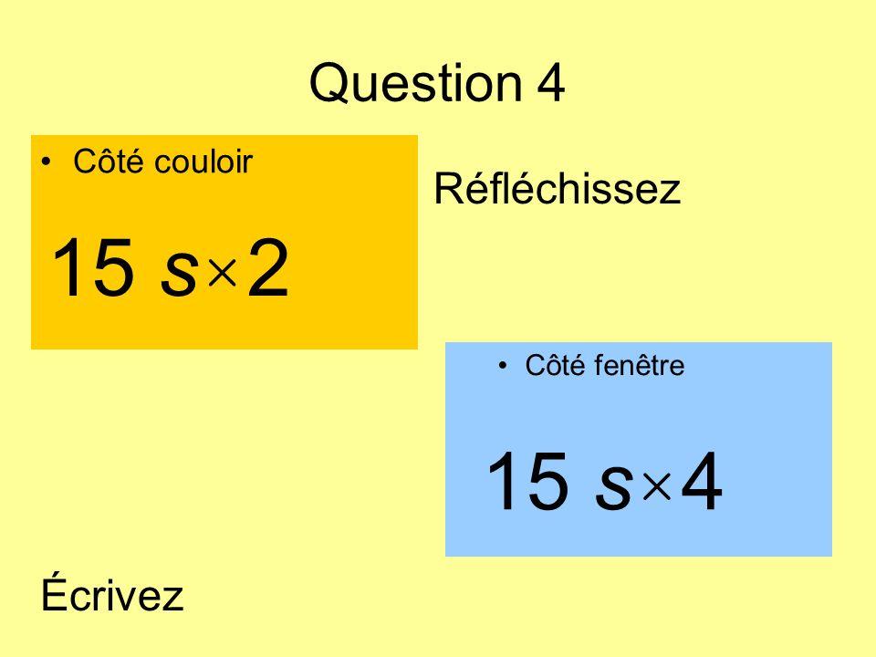 15 s×2 15 s×4 Question 4 Réfléchissez Écrivez Côté couloir