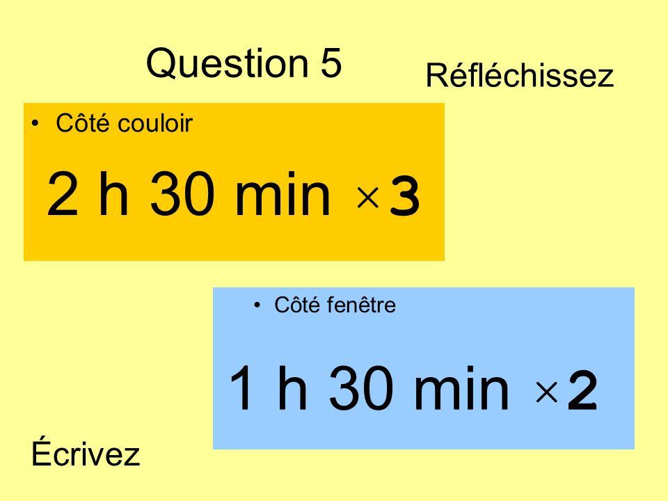 2 h 30 min ×3 1 h 30 min ×2 Question 5 Réfléchissez Écrivez