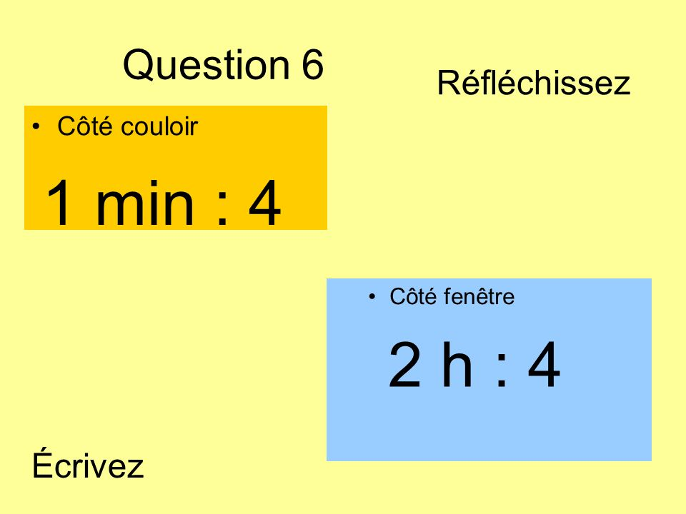 1 min : 4 2 h : 4 Question 6 Réfléchissez Écrivez Côté couloir