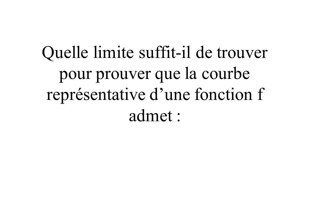 Quelle limite suffit-il de trouver pour prouver que la courbe représentative d'une fonction f admet :