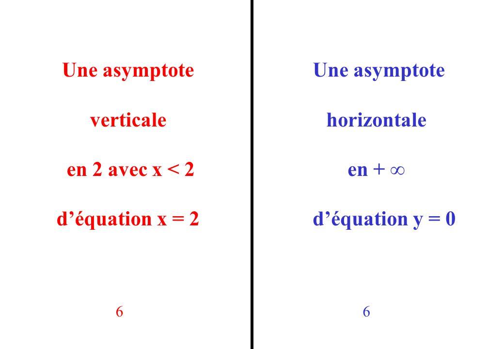 Une asymptote verticale en 2 avec x < 2 d'équation x = 2